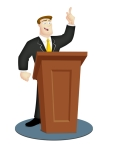Cartoon speaker in business suit with rostrum.